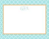 Turquoise Quatrefoil Pattern Stationery, Invitation or Announcement Set