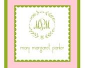 Pink and Green Wreath Sticker Enclosure Card, Sticker, Book Plate, Address Label Set