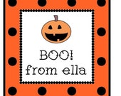 Halloween Polka Dot Pumpkin Label, Gift Tag, Address Label Set