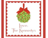 Christmas Holiday Sticker - KISSING BALL - Gift Enclosure, Book Plate, Address Label - Set of 24