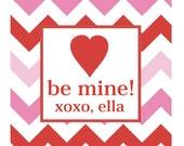 Chevron Valentine Sticker, Tag, Enclosure Card - RED and PINK CHEVRON - Set of 24