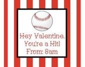 Baseball Valentine Sticker, Gift Enclosure Card or Return Address Label - Set of 24