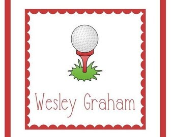 Golf Ball Gift Label, Enclosure Card, Book Plate or Address Label Set - 24