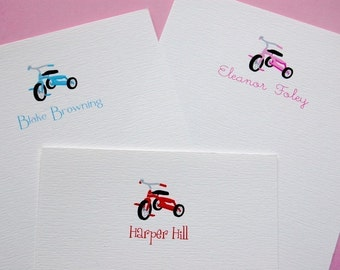 Children's Personalized Tricycle Stationery/Note Card and Label Set
