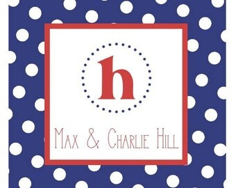 Blue Polka Dots Label, Gift Enclosure, Book Plate, Address Label - Set of 24