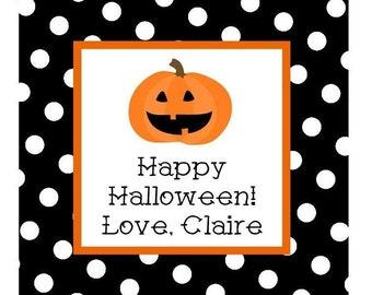 Halloween Pumpkin Sticker, Gift Tag or Address Label - Set of 24