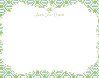 Green and Blue Pattern Stationery with Bee, Invitation or Announcement Set