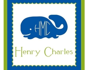 Whale Sticker, Enclosure Card, Book Plate or Address Label - Set of 24
