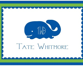 Monogrammed Whale Personalized Foldover Notecard Set