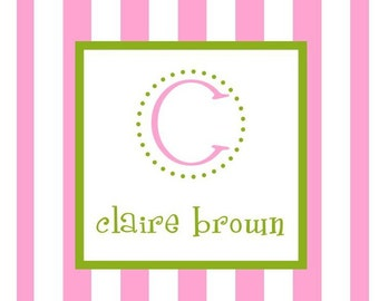 Pink and White Stripe Sticker, Enclosure Card, Book Plate, Address Label - Set of 24