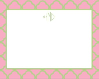 Pink and Green Quatrefoil Notecard Stationery or Invitation Set