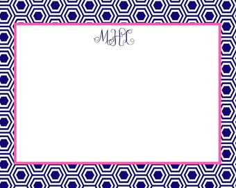 Navy Hexagon Modern Stationery, Invitation or Announcement Set