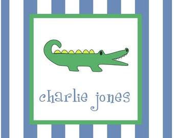 Alligator Sticker, Enclosure Card, Book Plate or Address Label - Set of 24
