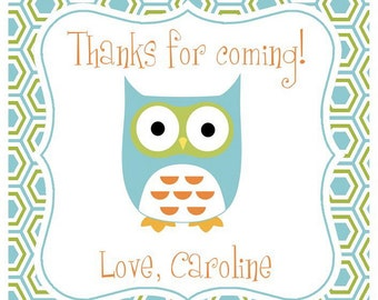 Owl Sticker, Enclosure Card, Book Plate or Address Label - Set of 24