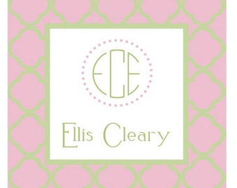 Pink and Green Quatrefoil Pattern Sticker, Enclosure Card, Book Plate, or Address Label Set