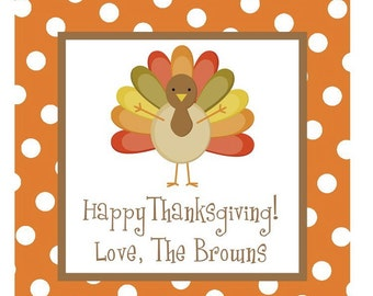 Thanksgiving Turkey Sticker, Gift Tag, Address Label Set - The KID'S TABLE RULES