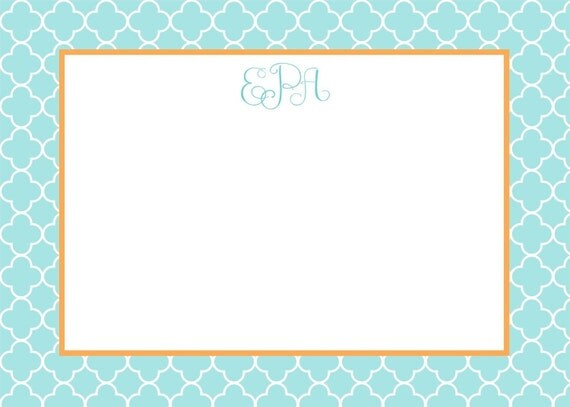 Turquoise Quatrefoil Pattern Stationery, Invitation or Announcement Set
