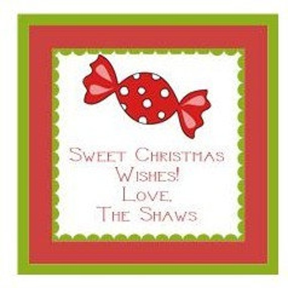 Christmas Holiday Candy Sticker, Gift Tag, Enclosure Card or Address Label - Set of 24