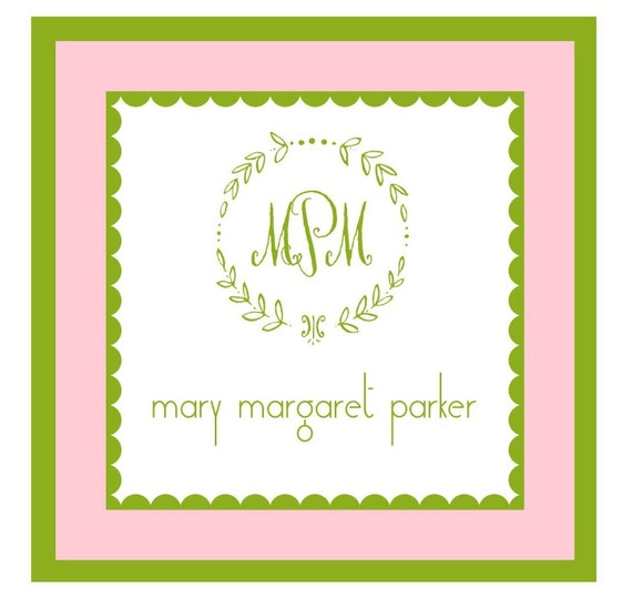 Pink and Green Wreath Sticker Enclosure Card, Sticker, Book Plate, Address Label Set