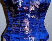 SALE NEW Blue Dragon Brocade Victorian Corset