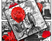 Digital Collage of Red and Grey Illustration with Roses  - 20  2x2 Inch Square JPG images - Digital  Collage Sheet