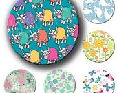 Digital Collage of Cute Children Patterns  - 63  1x1  Inch Circles JPG images - Digital  Collage Sheet