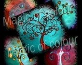 Stylized Curl Colourful Trees - 63  1x1 Inch Square JPG images - Digital  Collage Sheet