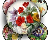Digital Collage of  Vintage Flower Illustration - 63  1x1 Inch Circles JPG images - Digital  Collage Sheet