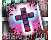 Digital Collage of  Colourful Christian Crosses - 63  1x1 Inch Square  JPG images - Digital  Collage Sheet