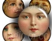 Vintage Kids Faces    - 63  1 Inch Circle JPG images - Digital  Collage Sheet