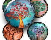 Stylized Curl Colourful Trees - 42  30 mm Circle JPG images - Digital  Collage Sheet