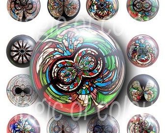 Multi-coloured bubbles - 63 1 Inch Circles JPG images - Digital  Collage Sheet