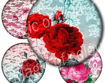 Digital Collage of  Vintage Roses and Lace Illustration - 15  2x2 Inch Circle  JPG images for Pocket Mirror - Digital  Collage Sheet