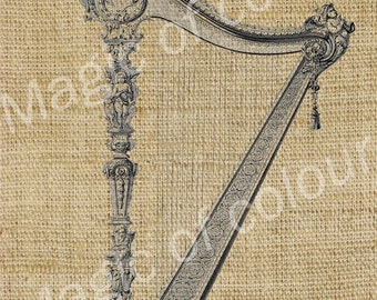 Harp - Download Digital Image Sheet Transfer to Fabric - Music N1 - 8.5x11 Inch (A4) JPG images