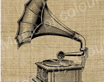 Gramophone - Download Digital Image Sheet Transfer to Fabric - Music N3 - 8.5x11 Inch (A4) JPG images