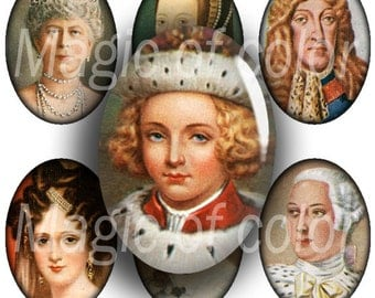 Kings and Queens of England  - 90  18x25 mm Oval  JPG images - Digital  Collage Sheet