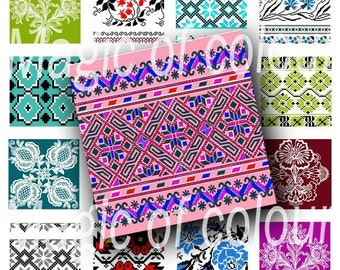 Ethnic Embroiderys - 63 1x1 Inch Square JPG images - Digital  Collage Sheet
