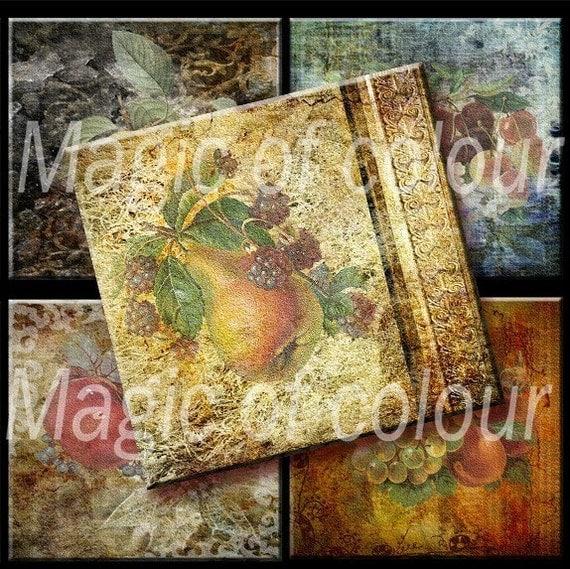 Still-life -  Vintage Fruits and Vegetables - 20  2x2 Inch Square JPG images - Digital  Collage Sheet