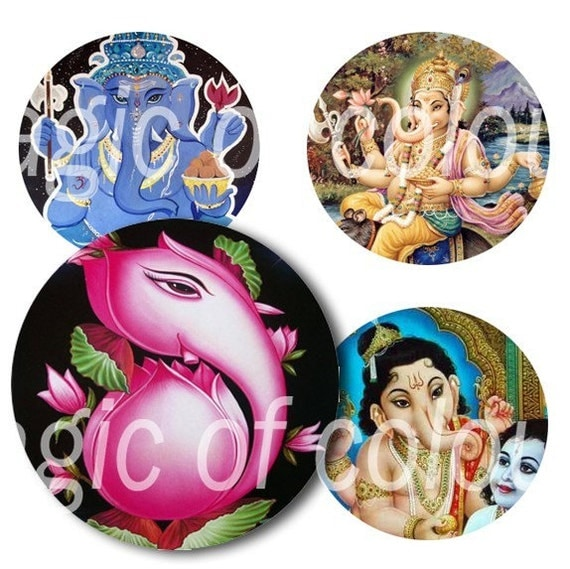 Digital Collage of God Ganesha - 63  1x1 Inch Circles JPG images - Digital  Collage Sheet