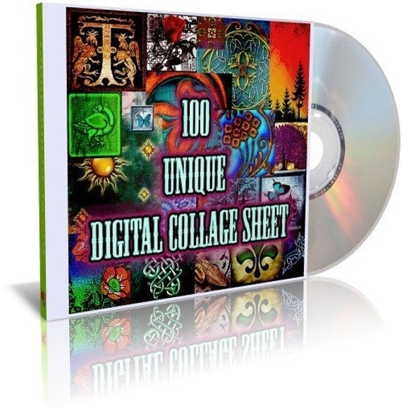 100 Unique Digital Collage Sheet - Unique Images for Scrapbooking and Artwork on DVD