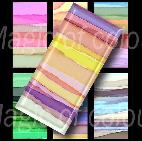 Watercolor Stripes - 35  1x2 Inch JPG images - Digital  Collage Sheet