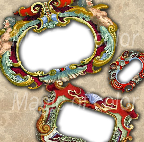 Vintage Frames - 8 Digital ACEO Images - Printable Digital Collage Sheet
