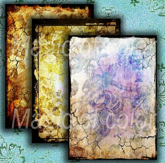 Cracked Shabby Flora N2 - 6 Digital ACEO Images - Printable Digital Collage Sheet