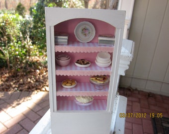 Shabby Chic Pink and White Open Cabinet