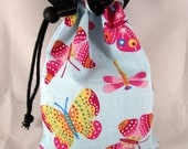 Project Bag, Butterfly, Blue, Black, Reversible, FREE US Shipping, Small