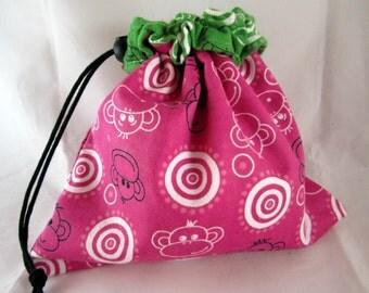 Project Bag, Pink and Green Monkeys, Reversible, Medium