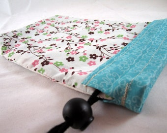 Project Bag, Flowers, Blue, White, Reversible, Small