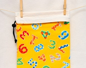 Knitting Project Bag, Yellow and Numbers, Reversible, Large