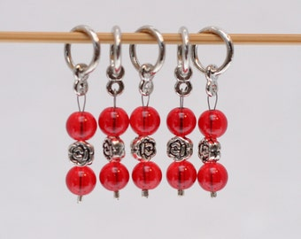 Knitting Stitch Markers, Red Rose, Snagless