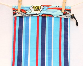 Project Bag, Stripes, Blue, Red, White, Superman, Reversible, Large